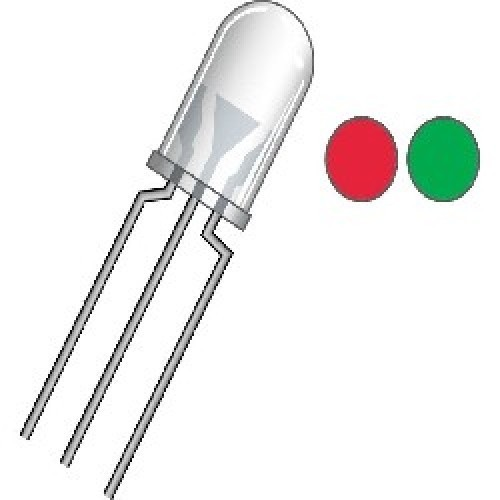 LED BICOLOR ROJO/VERDE 5mm C.C. (3 PATAS)