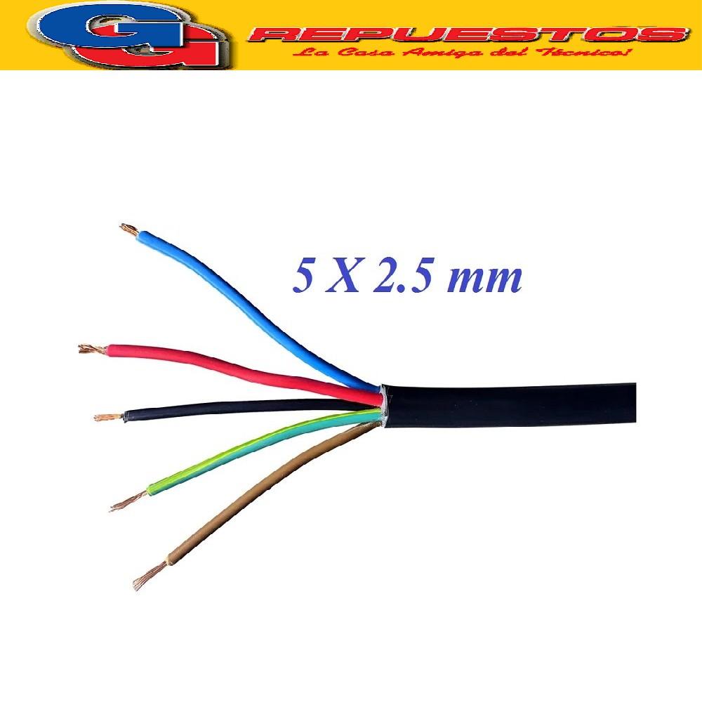 CABLE TPR TIPO TALLER 5 X 2.50mm POR METRO (ENVAINADO NEGRO)