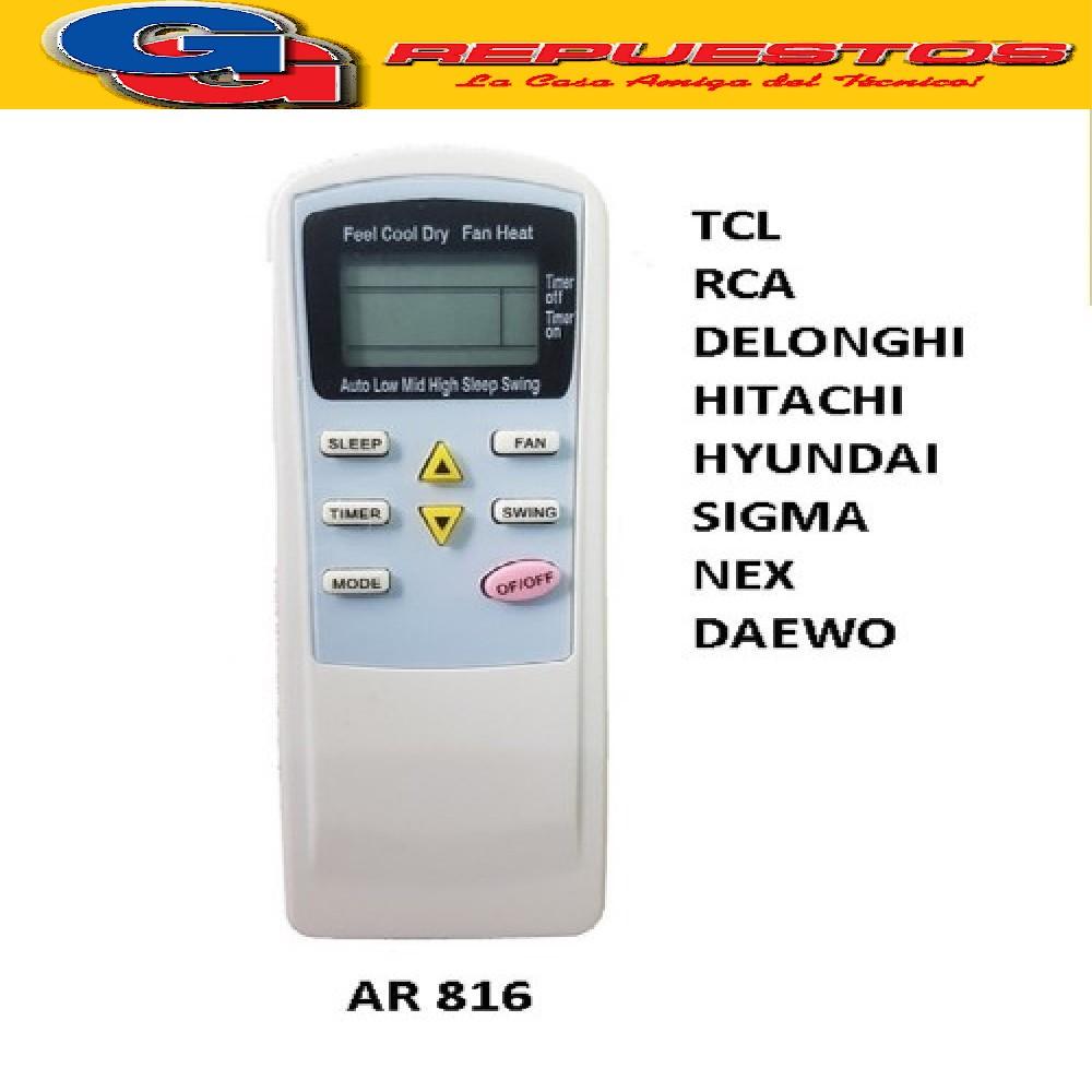 CONTROL REMOTO AIRE ACONDICIONADO SPLIT AR816 TCL RCA DELONGHI HITACHI HYUNDAI SIGMA NEXT DAEWO PE-AA3 KELVINATOR.
