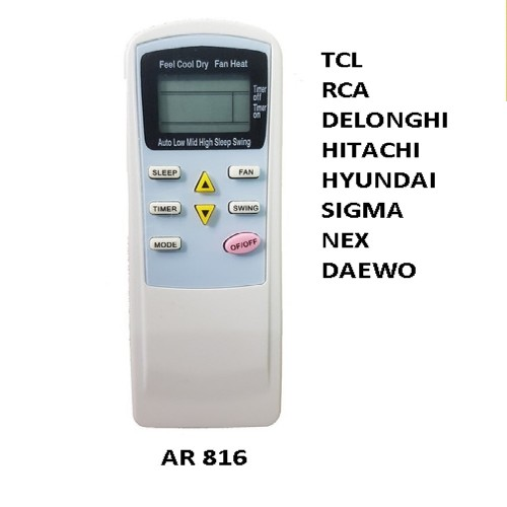 CONTROL REMOTO AIRE ACONDICIONADO SPLIT TCL RCA DELONGHI HITACHI HYUNDAI SIGMA NEXT DAEWO AR816 PE-AA3 KELVINATOR.