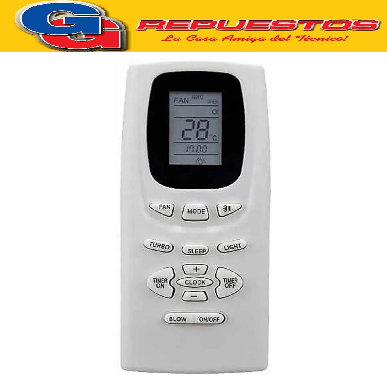 CONTROL REMOTO AIRE ACONDICIONADO SPLIT AR817 SANYO PHILCO NOBLEX CADIF NOBLE GREE