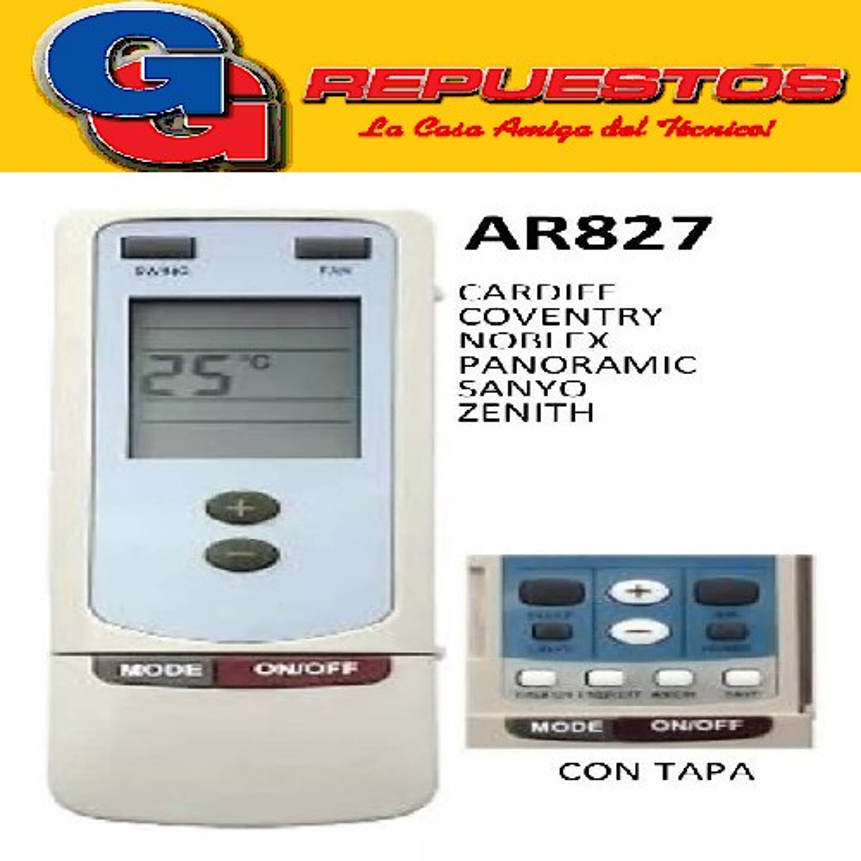 CONTROL REMOTO AIRE ACONDICIONADO SPLIT AR827 PHILCO SANYO NOBLEX ZENITH COVENTRY PANORAMIC Y512