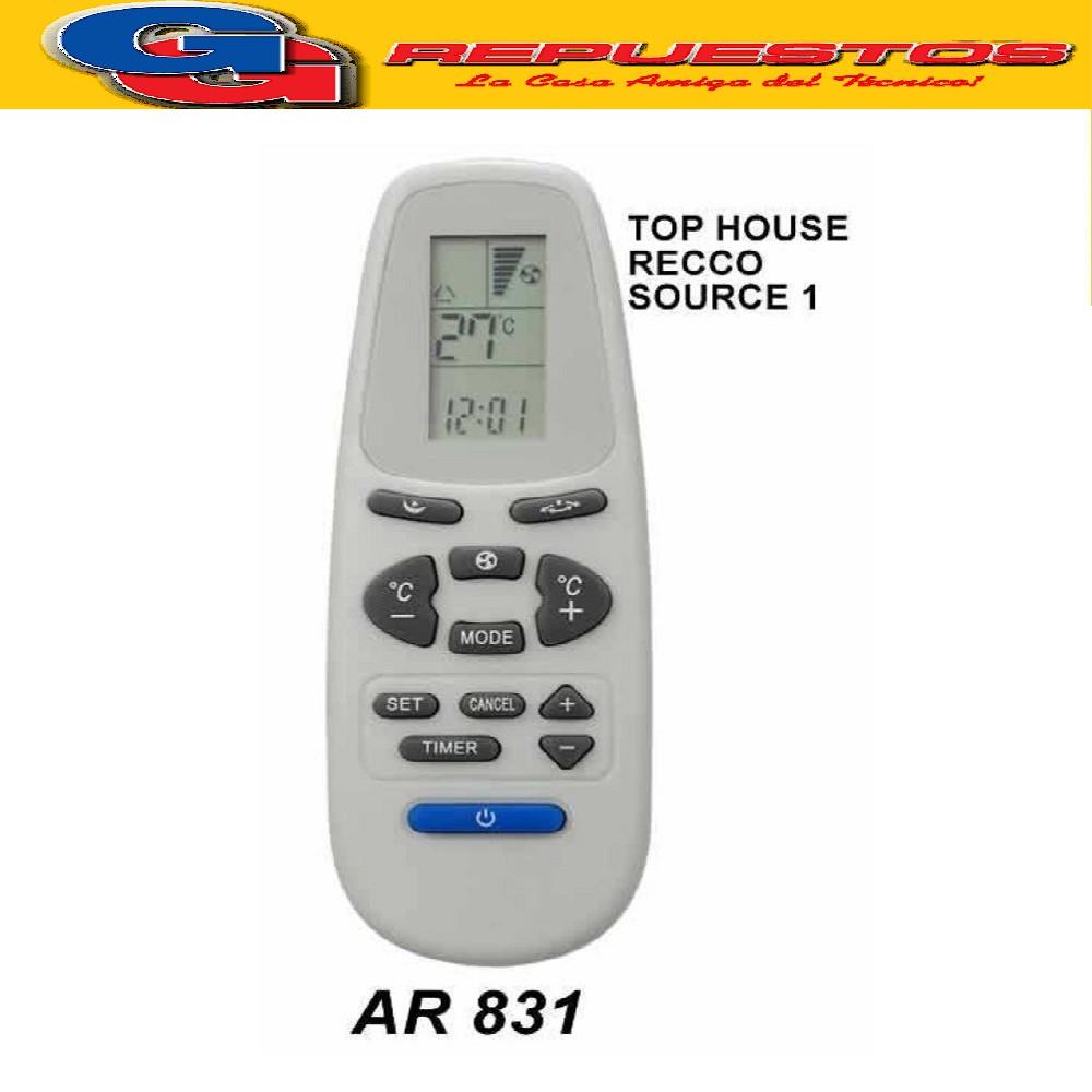 CONTROL REMOTO AIRE ACONDICIONADO SPLIT AR831//TOP HOUSE-RECCO-YORK A431