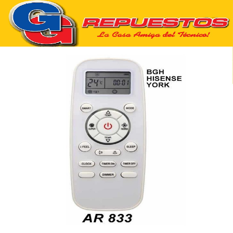 CONTROL REMOTO AIRE ACONDICIONADO SPLIT AR833 BGH HISENSE YORK