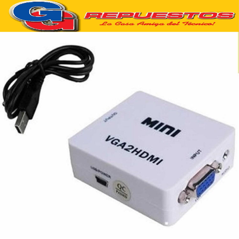 CONVERTIDOR VGA A HDMI CABLES Y CONECTORES CONVERSOR VGA A HDMI MINI FULL-HD 1080P BLANCO