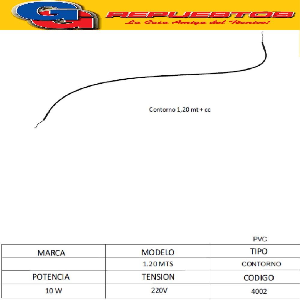 RESISTENCIA CONTORNO SILICONA HELADERA COLUMBIA  Y OTRAS  MARCAS LARGO :1.20 MTS- 220V -10W