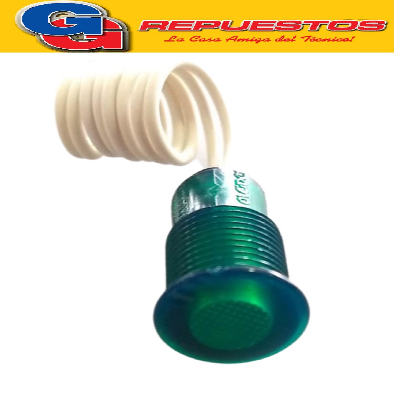 OJO DE BUEY VERDE C/ROSCA C/CABLE  220 V DIAMETRO DEL CUERPO 12 mm