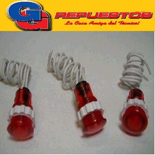 OJO DE BUEY AMBAR C/ROSCA C/CABLE  220 V DIAMETRO DEL CUERPO 12 mm