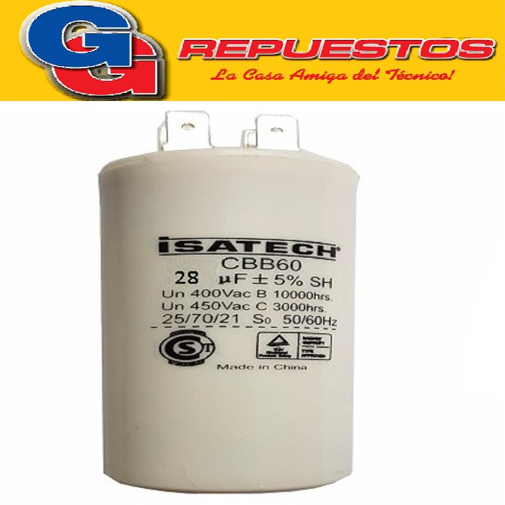CAPACITOR 28uF CILINDRO S/TORNILLO - BlueStar -CBB60-3-