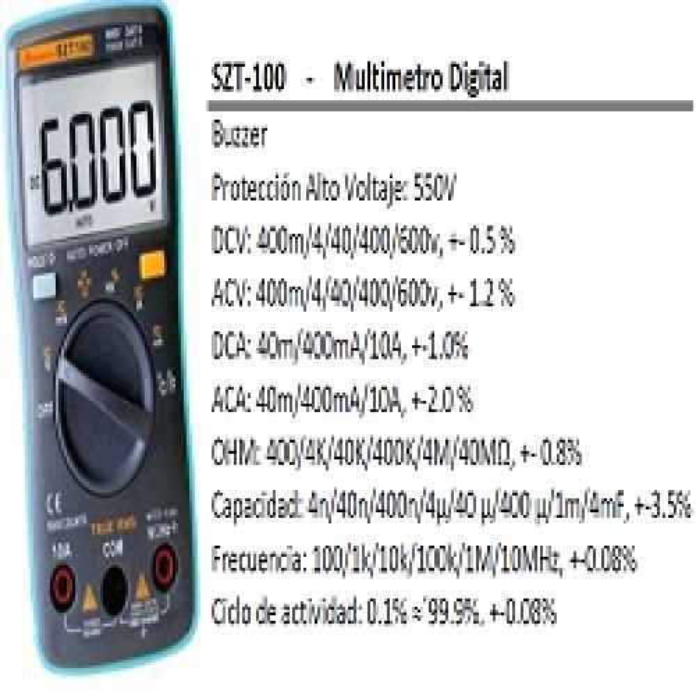 TESTER DIGITAL COMPACTO SZT-100 CON CAPACIMETRO