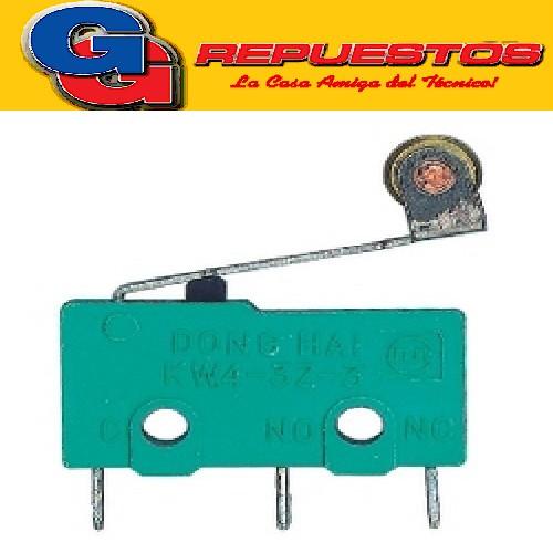 MICROSWITCH  3A 250V PARA CABLE LEVA CON RUEDA de 20 mm de largo, 10 mm de alto y 6mm de ancho