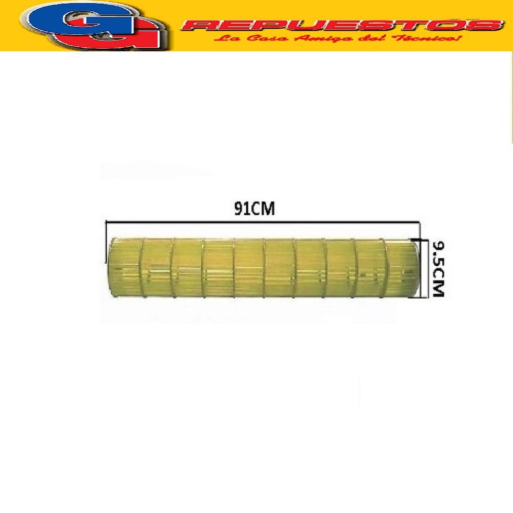 TURBINA EVAPORADOR AIRE SPLIT DIAMETRO 9.5CM LARGO 91CM el buje 8 MM de diametro interior , el eje 6 mm de diametro