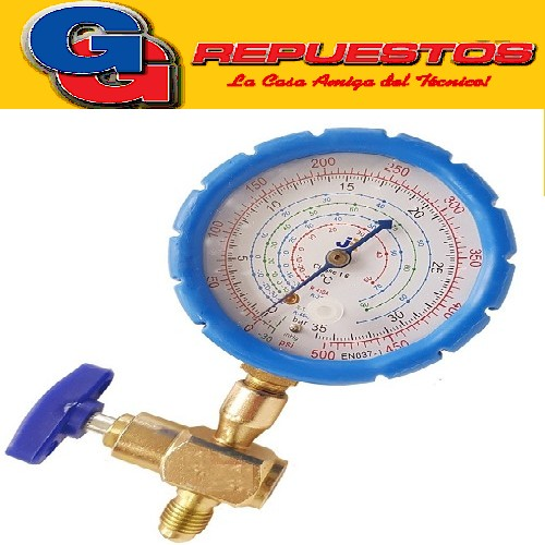 MANIFOLD SIMPLE PARA LATA DESCARTABLE C/MANOM DE 4 ESCALAS R410A R22 R134A R404A