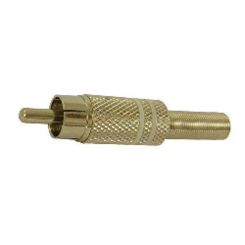 FICHA CONECTOR PLUG RCA AZUL METALICO C/Res. 6.5mm