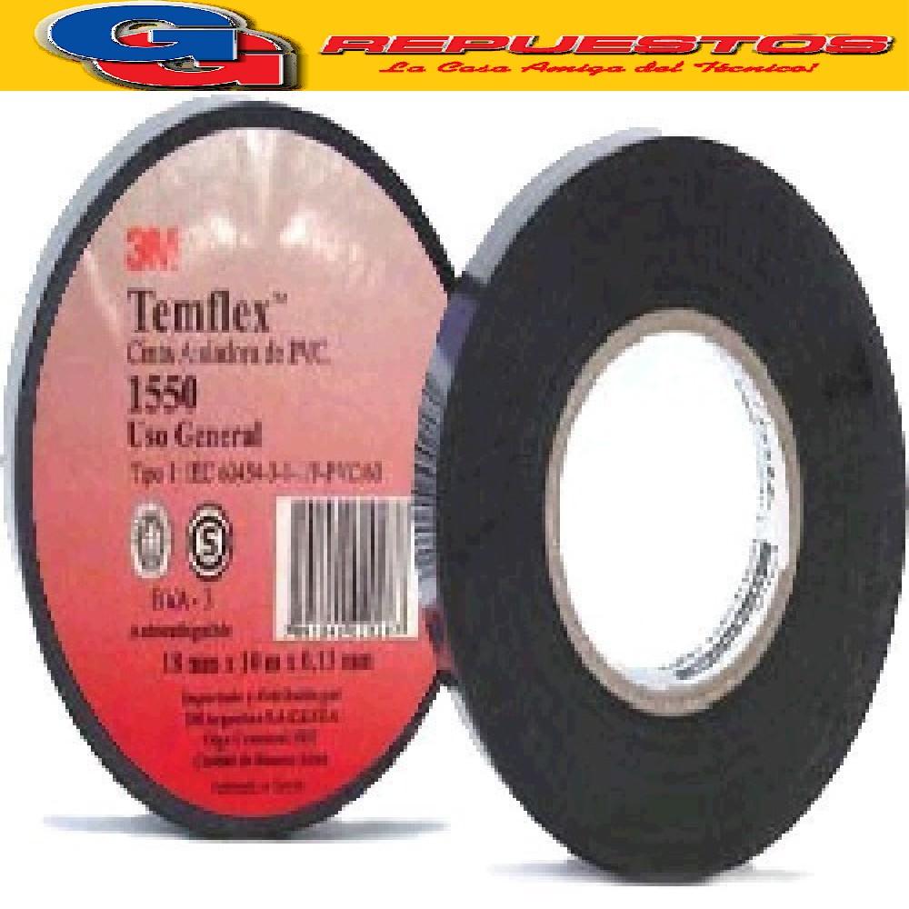 CINTA AISLADORA 3M TEMFLEX 1550 NEGRA 20 MTS