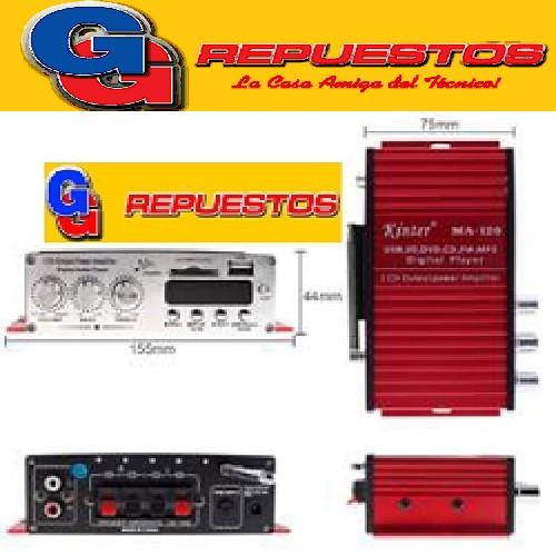 AMPLIFICADOR MA120-190 12V ENTRAD USB Y SD, INCLUYE CONTROL REMOTO. POTENCIA