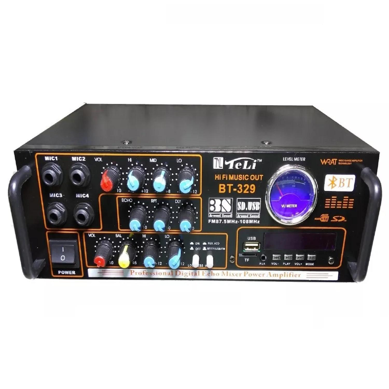 AMPLIFICADOR KARAOKE CON MIXER Y ECCO ENTRADAS PARA 2 MIC 40+40 MUSICALES -- 80+80 MAX MUSICALES. POTENCIA USB