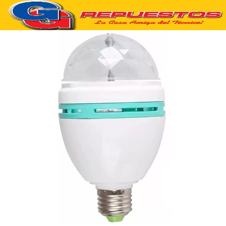 LAMPARA LED GIRATORIA RGB LRL3W. 3 COLORES, BAJO CONSUMO. FIESTAS CUMPLEAÑOS DECORACION