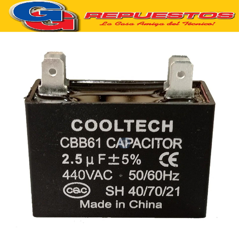 CAPACITOR 2.5uF X 450V CUADRADO C/PALAS CBB61(2,5X450V)