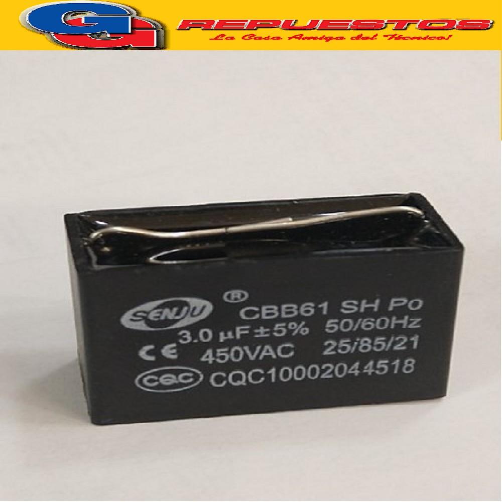 CAPACITOR 3uF X 450V CUADRADO CON PINES PARA SOLDAR EN PLACA CBB61