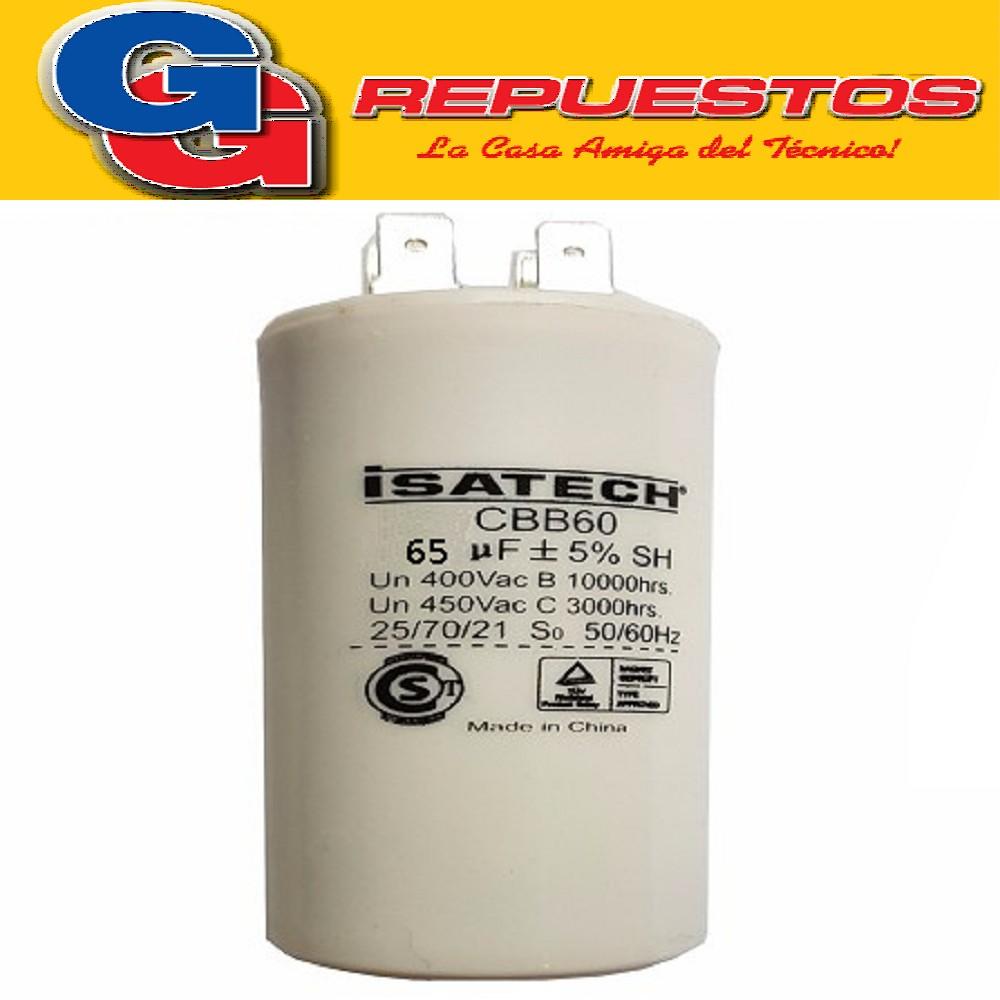 CAPACITOR 65uF CILINDRO S/TORNILLO CBB65(65X450)