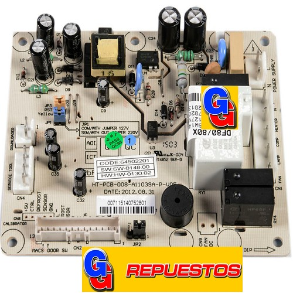PLAQUETA CONTROL HELADERA ELECTROLUX M/NUEVO DF80X-DF80 (ORIGINAL) COD.ORIGEN: 5206038 (ELECTROLUX) 70202437 (ELECTROLUX) PLACA POTENCIA DF 80 / DF 80X NUEVO SOFTWAREProduttore: Grabada sobre 64502201