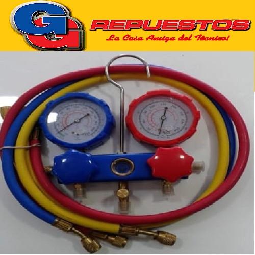 MANIFOLD COMPLETO R22 CON PROTECTOR Y VISOR LLAVES AL FRENTE/CUERPO DURO ALUMINIO Y MANGUERAS (R22/R12/502)