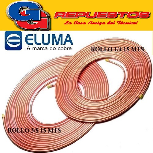 OFERTA COMBO CAÑOS DE COBRE ELUMA PARED 0.80 1 ROLLO 15 MTS  1/4 Y 1 ROLLO 3/8 15 MTS