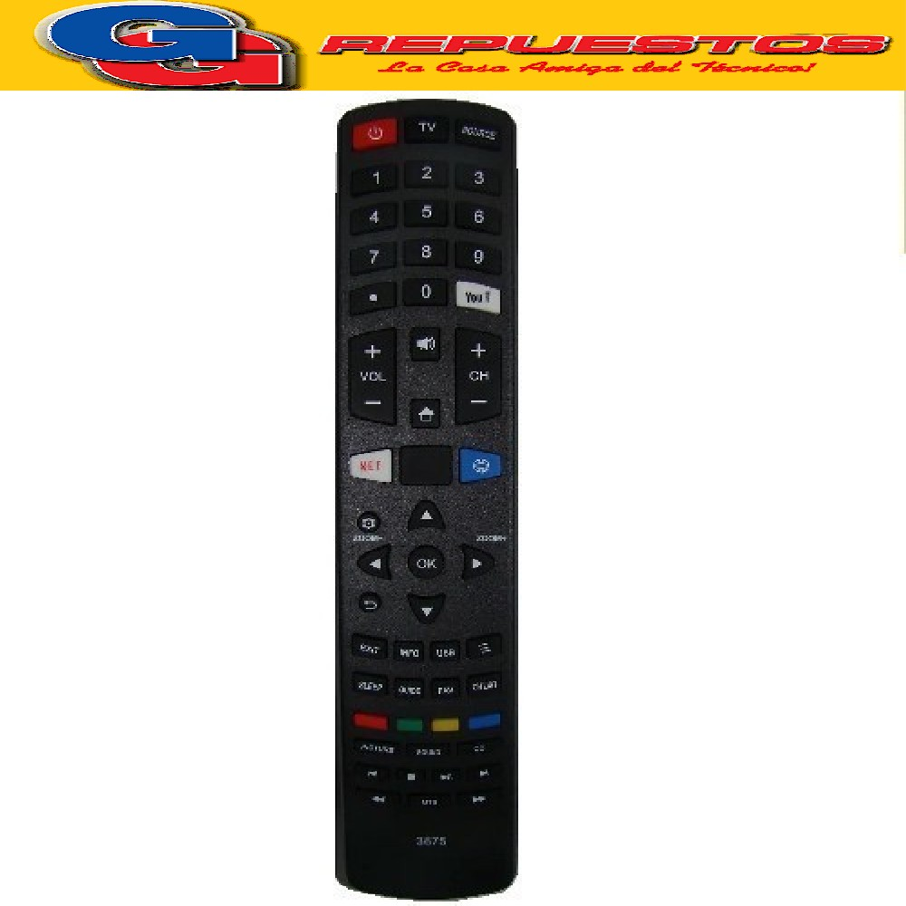 CONTROL REMOTO SMART TV LED TONOMAC-RCA-DAEWOO-KENBROWN R6875 PHILCO  PLD49US7C SANYO NOBLEX