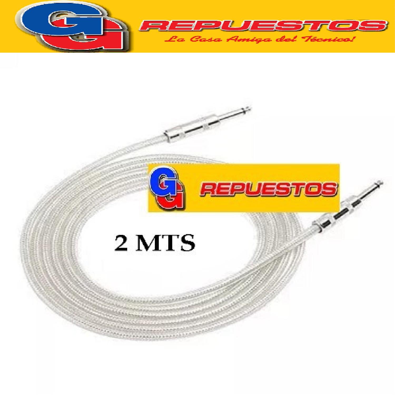 CABLE ARMADO PLUG MONO MALLADO 6.5mm A 6.5mm 2MTS - PARA AUDIO, GUITARRA, BAJO, TECLADO Y MAS