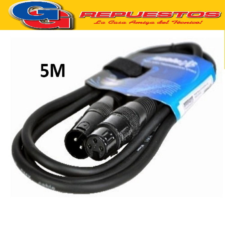 CABLE ARMADO PRO XLR (CANON M- CANON H) 5 MTS PARA AUDIO, MICROFONOS, LUCES DMX Y MAS