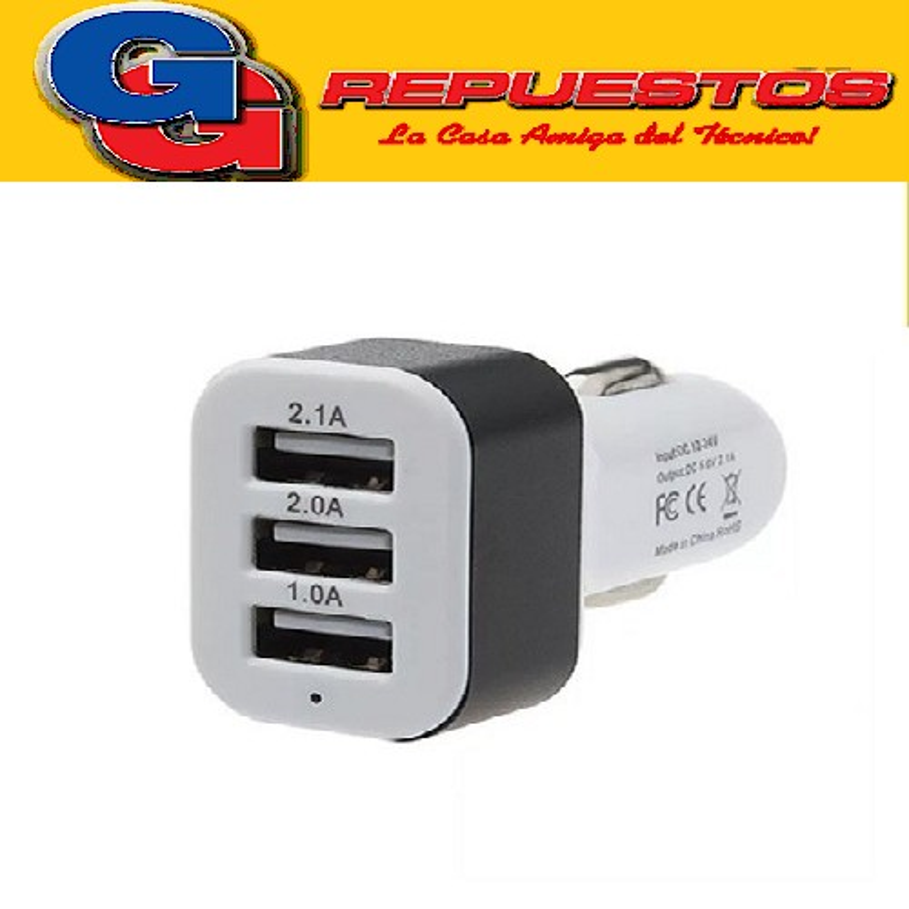 CARGADOR USB AUTO 3 SALIDAS (ENCENDEDOR) CELULAR
