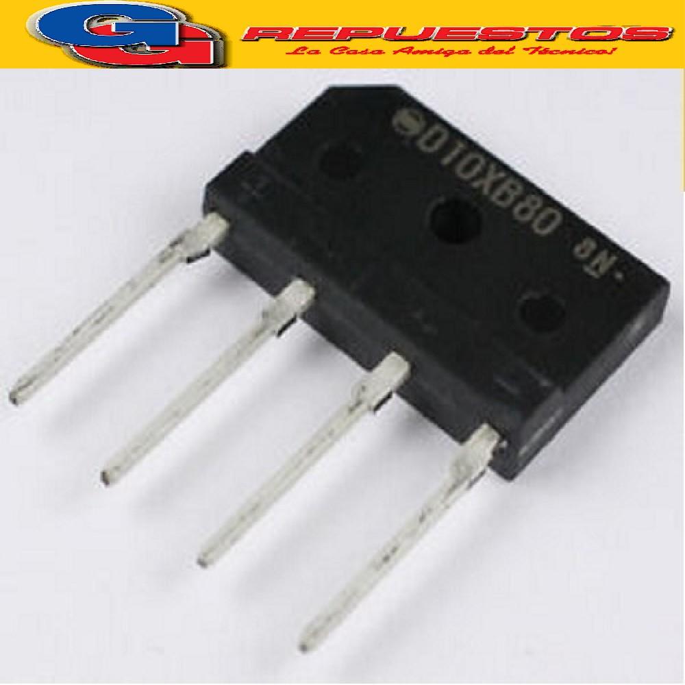 D10XB80 DIODO PUENTE RECTIFICADOR (800V/10A/55pF/1.4°C/W)