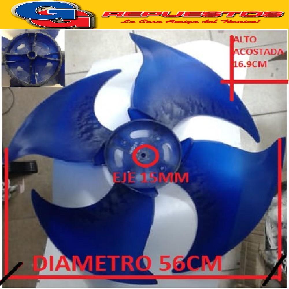 HELICE PALA CONDENSADOR AIRE SPLIT A PRESION (EJE15mm / DIAMETRO 56CM / ALTO ACOSTADA 16.9CM) GIRO HORARIO