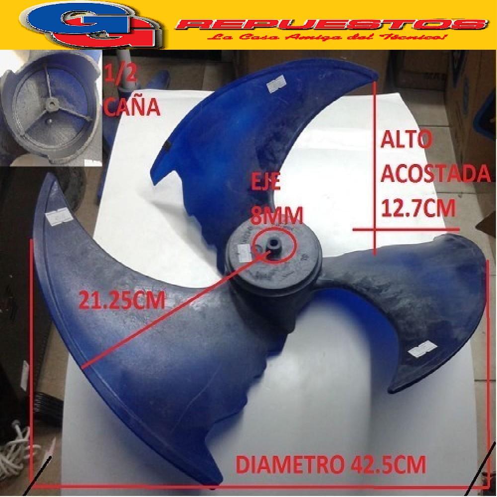 HELICE PALA CONDENSADORA AIRE SPLIT 1/2 CAÑA (EJE 8mm / DIAMETRO 42.5CM .CENTRO A PALETA 21.25CM / ALTO ACOSTADA 12.7CM) GIRO HORARIO
