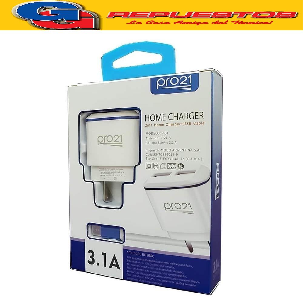 CARGADOR PARA CELULAR TMCC:301 CARGA RAPIDA TURBO 2USB CONECTOR MICRO USB PORT