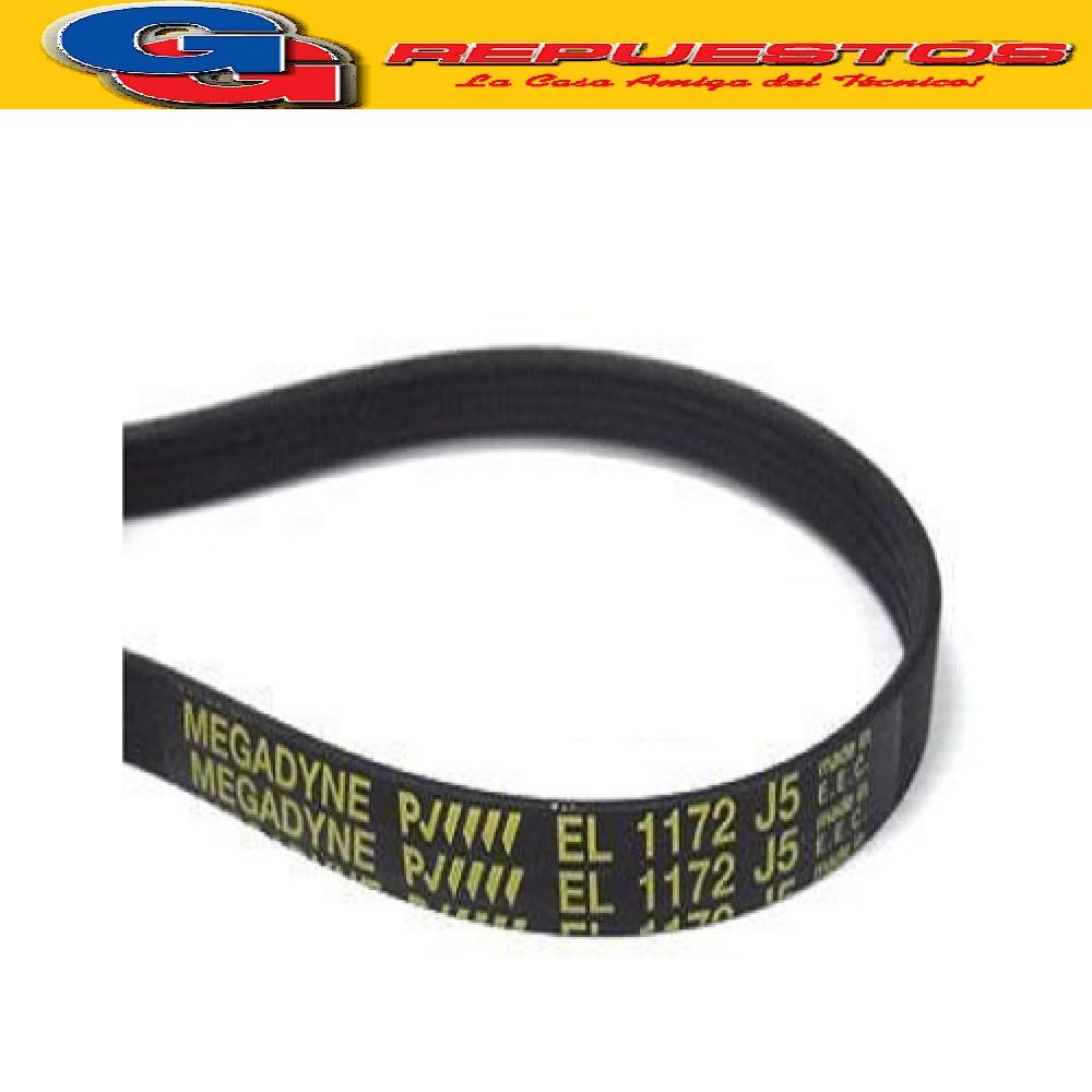 CORREA POLY V EL 5PJ - 1172  ELASTICA ORIGINAL SE PUEDE REEMPLAZAR POR LA 1173 J5 Y POR 1181 J4 DREAN EXC.166C-166TC-186TC-AURORA NUEVO 5014-5016-5114-5116- WHIRLPOOL AWM468- AWM468 Puerta Nueva-AWM748/Pta Nva-AWM968- CONSUL CWR614- ESLABON DE LUJO