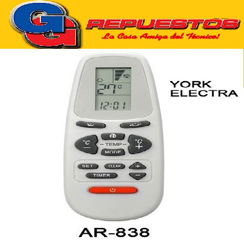 CONTROL REMOTO AIRE SPLIT ELECTRA, YORK A438