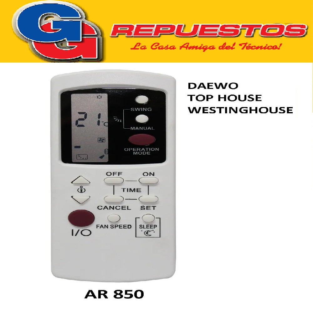 CONTROL REMOTO AIRE DAEWOO, WESTINGHOUSE TOP HOUSE A450
