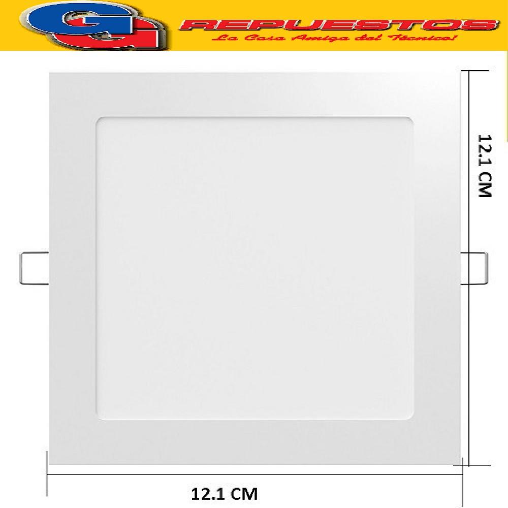 PANEL LED CUADRADO PARA EMBUTIR 6W CON DRIVER EXTERNO - 120° 480 LUMENS - 121x121MM - BLANCO CALIDO