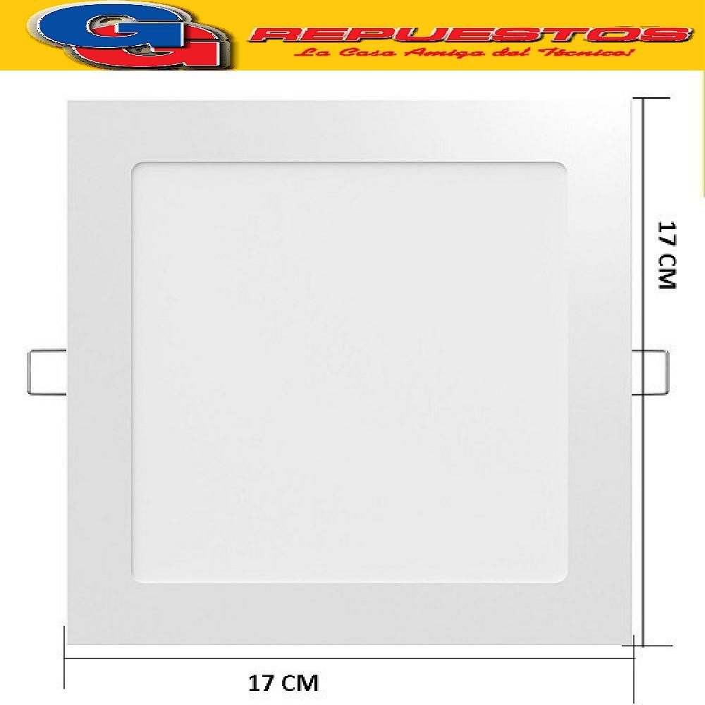 PANEL LED CUADRADO PARA EMBUTIR 12W CON DRIVER EXTERNO - 120° 1000 LUMENS - 170x170MM - BLANCO FRIO