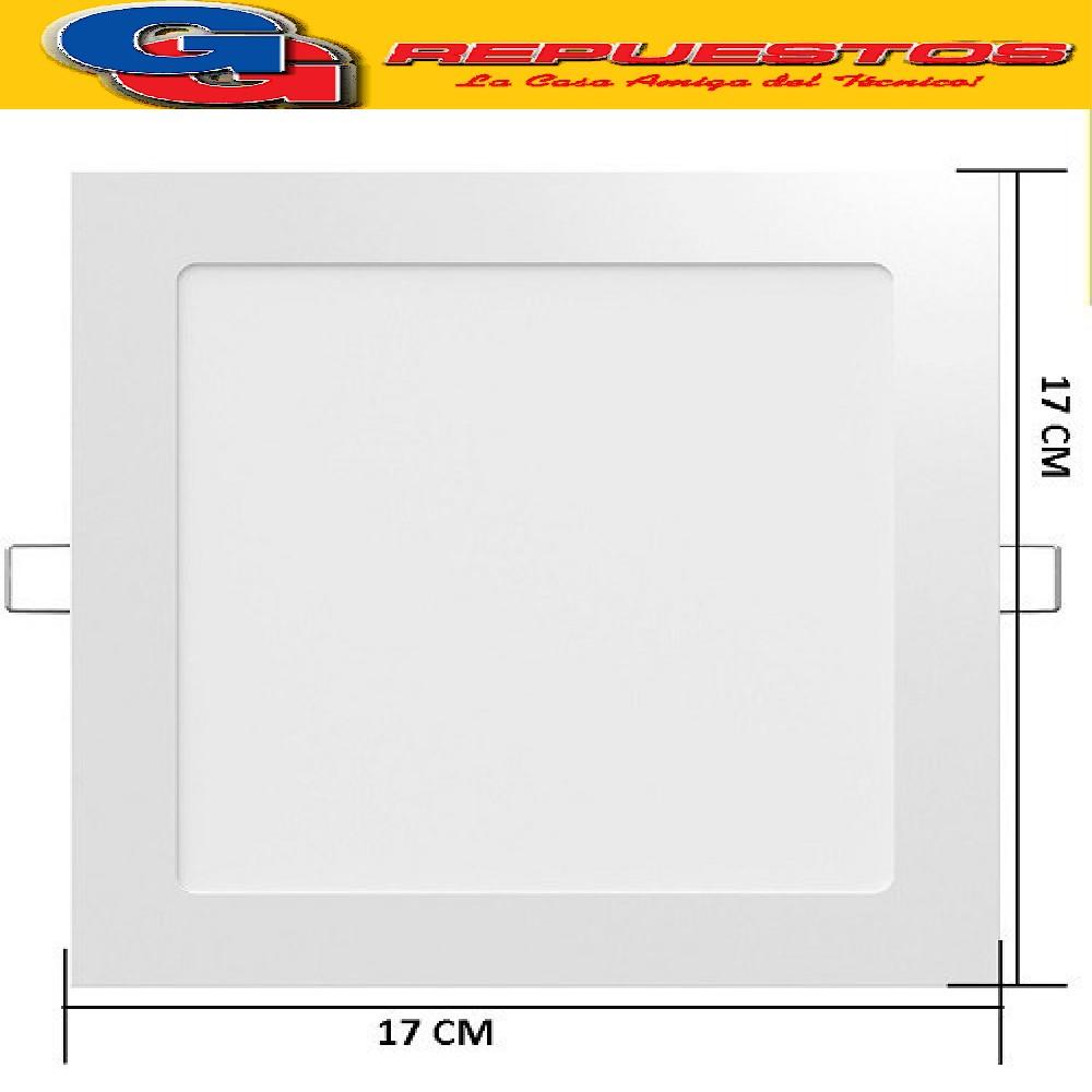 PANEL LED CUADRADO PARA EMBUTIR 12W CON DRIVER EXTERNO - 120° 960 LUMENS - 170x170MM - BLANCO CALIDO