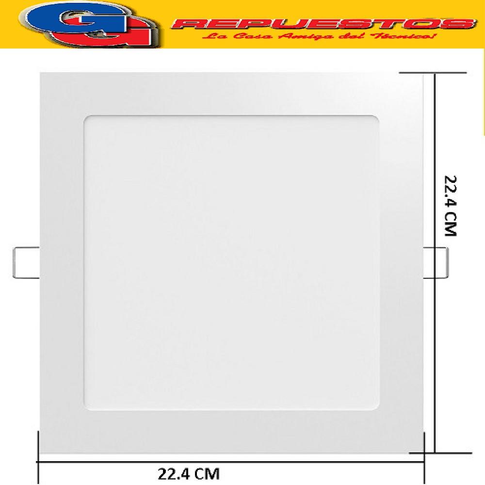 PANEL LED CUADRADO PARA EMBUTIR 18W CON DRIVER EXTERNO - 120° 1550 LUMENS - 224x224MM - BLANCO CALIDO