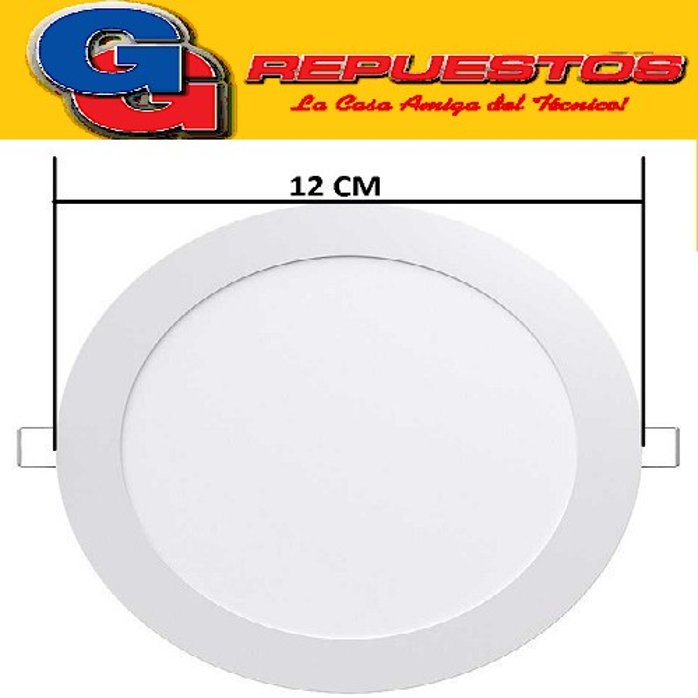 PANEL LED REDONDO PARA EMBUTIR 6W CON DRIVER EXTERNO - 120° 500 LUMENS - DIAMETRO 120MM - BLANCO FRIO