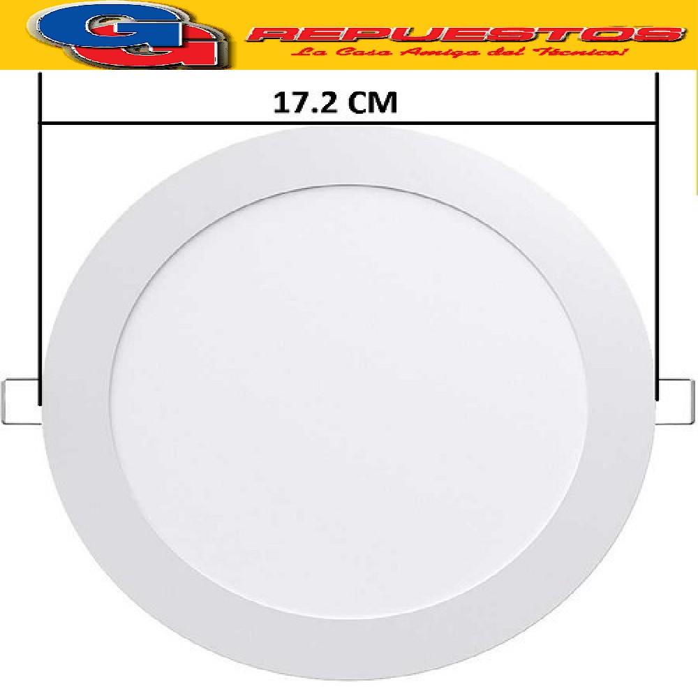 PANEL LED REDONDO PARA EMBUTIR 12W CON DRIVER EXTERNO - 120° 960 LUMENS - DIAMETRO 172MM - BLANCO CALIDO