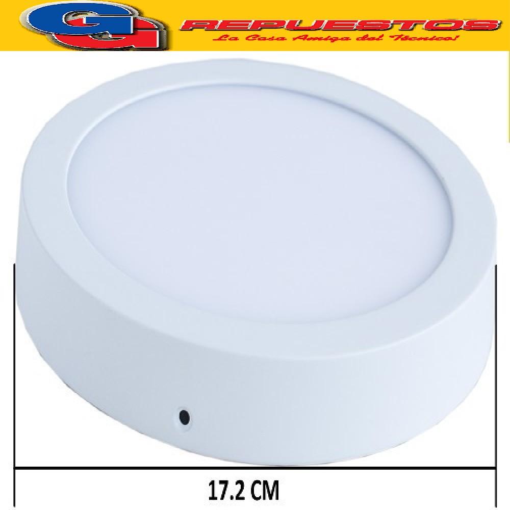 PANEL LED REDONDO PARA SUPERFICIE/PLAFON 12W CON DRIVER EXTERNO - DIAMETRO 172MM - BLANCO FRIO - JA-512