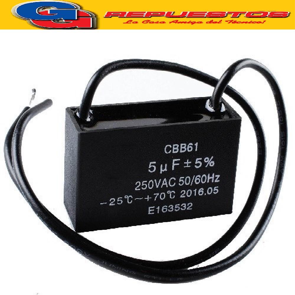 CAPACITOR CAUDRADO  CON CABLE 5 uF X 450VAC (MOTOR) P=38 W:100