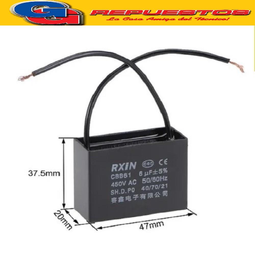 CAPACITOR POLIPROPILENO METALISADO C/CABLE 6.0uF X 450VAC (MOTOR) P=38 W:100