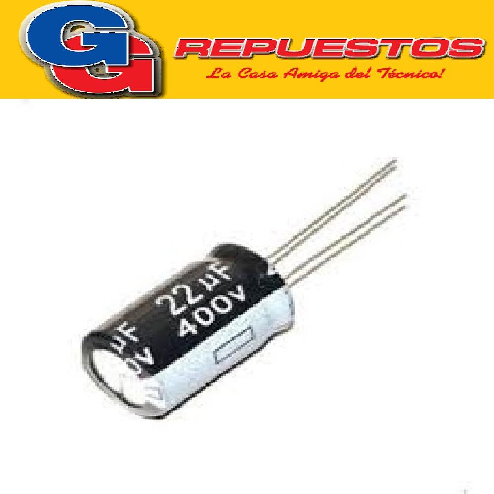 CAPACITOR ELECTROLÍTICO RADIAL 2.2MF X 400V 105° (8X12)