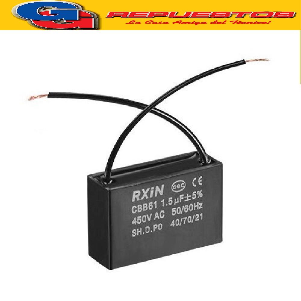 CAPACITOR POLIPROPILENO METALISADO C/CABLE 1.2uF X 450VAC (MOTOR) P=36 W:100